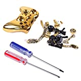 HDE Xbox 360 Wireless Controller Shell Buttons Thumbsticks Torx Screwdriver Replacement Case Cover and Tool Kit - Chrome Gold