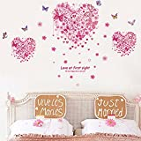 Heart Shape Butterflies Flowers Wall Decals Home Stickers House Decoration WallPaper Removable Living Dinning Room Bedroom Kitchen Art Picture Murals DIY Stick Girls Boys Kids Nursery Baby Playroom Decoration