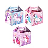 6 Party Boxes -Themed Character Cardboard Lunch Food Loot Treat Box - 22 Designs (6 - Unicorn Boxes - HB)