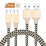 Micro USB Cable GlobaLink Nylon Braided Android Charger Cables 2 Pack 2m Ultra Durable Cord Lifetime Warranty Series-for Smartphones Samsung Galaxy, Nexus, LG, Sony, Xiaomi, HTC, Motorola, PS4 Controller and More - Gold