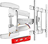 ONKRON TV Wall Mount Bracket Full Motion Dual Articulating Arm for most 40' – 70 Inch LED OLED LCD Flat Screens up to 45 kg with Tilt Swivel Rotation White M6L