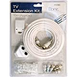 15M COAXIAL TV EXTENSION KIT AERIAL CABLE COAX LEAD TELEVISION WIRE PLUGS NEW