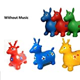 Kids Boys Girls Non-Musical Space Bouncing Animal Hopper Inflatable Soft Rubber Toy Bounce Game(Random Color) (Horse)