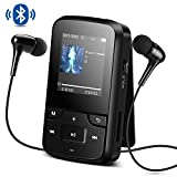 AGPTEK 8GB MP3 Player with Bluetooth 4.0 Portable Clip HD Screen Music Player with Armband and Silicone Case,High-Resolution(240*240) Expandable Up to 128GB, G6 (Black)