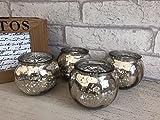 Set of 4 Round Pumpkin Mercury Glass Tea Light Candle Holders Wedding Christmas