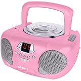 Groov-e Boombox Portable CD Player with Radio & Headphone Jack - Pink
