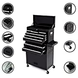 Dirty Pro Tools LARGE TOOL CHEST WITH DRAWER DIVIDER TOP CABINET TOP BOX AND ROLLCAB BOX - BLACK