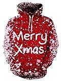 NEWISTAR Men X-Mas Novelty 3D HD Red X-Mas Graphic Fleece Hoodies Pullover Jumpers Sweatshirt Small