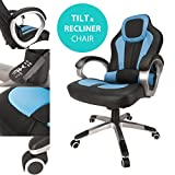 Blue Deluxe Gaming Sports Racing Style Chair Computer Desk Reclining Office Chair