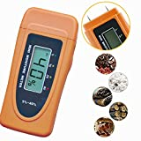 Moisture Meter, YH-THINKING Home Garden Store Kitchen Arts Crafts Woodcraft Woodworking Project Kits Portable Handheld Digital Wood Humidity Detector Sensor measuring range 5~40% (Orange)