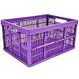 4 x 32L Plastic Folding Storage Container Basket Crate Box Stack Foldable Portable PURPLE