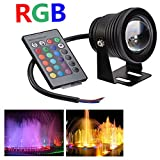 Jinda 10W 12V Outdoor LED Underwater Bulbs spot light with Remote Control for Landscape Fountain Pond, IP68 Waterproof Multicolor RGB LED Underwater Light Lamp for Sculptures Wedding Water Garden Pond Fish tank lighting ( Black )
