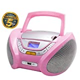 Lauson Cd-Player For Children | Boombox Stereo | Portable Radio CD Player with USB | Usb & MP3 Player | Headphone Jack (3.5mm) | CP748 (Pink)