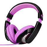 RockPapa Over Ear Stereo Headphones Earphones, for Adults Kids Childs Boys Girls, Noise Isolating, Adjustable, Heavy Deep Bass for iPhone iPod iPad MP3 MP4 Players SmartPhones Computer Music Gaming Headphone Purple & Black