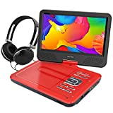 """WONNIE 10.5"""" Portable DVD Player with 270° Swivel Screen Built-in Rechargeable Battery SD Card and USB, Direct Play in Formats AVI/MP3/JPEG/RMVB (10.5, Red)"""