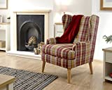 GFW - The Furniture Warehouse Hamish Wing Back Modern Cushioned Fabric Armchair - Available in 4 Colours