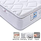 DOSLEEPS Small Double Mattress - LASUAVY 4FT Mattress 9-Zone Pocket Spring Mattress with Memory Foam and 3D Breathable Fabric - Orthopaedic Mattress - Thickness:10.6 Inch, White