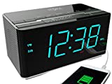 iTOMA Alarm Clock Radio with Wireless Bluetooth Stereo Speakers,Digital FM Radio,Double Alarm with Snooze,Auto Dimmer,USB Charging Port(CKS3501BT)