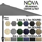 Garden Parasol by Nova - Aluminium Metal Outdoor Patio Umbrella Sun Shade with Crank & Tilt Function - 2.4m 2.7m 3m 3x2m in 6 Colours with 38mm Pole (3m x 2m Rectangular -Grey)