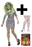 Zombie Convict + Tights & Handcuffs Ladies Fancy Dress Womens Halloween Costume (Small UK 8-10)