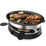 Barbecue Frying Pan Teppanyaki Electric Party Grill Machine - Indoor Hotplate BBQ For Table Top Cooking Non-Stick Cooking Hot Plate