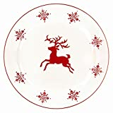 Nordic Christmas Stoneware Reindeer Dinner Salad Plate White Background Dishwasher Safe Dinnerware Tableware Ceramic Xmas Dining Themed Gift [ Set of 4 ]