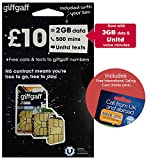 Love2surf giffgaff (2G/3G/4G) UK & EUROPE Trio SIM £10 - Unltd mins, Unltd Texts +3GB Data + International Calling Card RETAIL PACK
