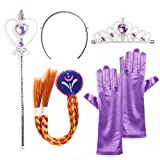 Katara 1098 - Princess Dress up Party Accessories 4 Pcs Set of Tiara, Magic Wand, Gloves and Braid For Girls from 2-9 years - Elsa, Anna, Belle - Ideal for Cosplay, Halloween or Costume Parties - Purple / Brown Braid