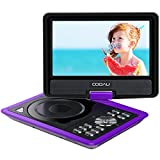 COOAU 11.5' Portable DVD Player, 5 Hours Rechargeable Battery, with 360° Swivel Screen/Remote Control/Game Joystick, Supports SD Card/USB/Sync TV, Direct Play in Formats AVI/RMVB/JPEG/MP3, Purple