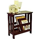 MISSION - Solid Wood Sofa Side Table/Magazine Storage - Mahogany