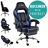GTFORCE PACE RECLINING SPORTS RACING GAMING OFFICE DESK PC CAR FAUX LEATHER CHAIR (Blue)