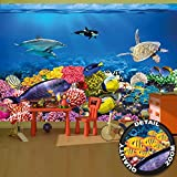 Wall Mural Aquarium Mural Decoration Colorful Underwater World Sea Dweller Ocean Fishes Dolphin Coral Reef Clownfish I paperhanging Wallpaper poster wall decor by GREAT ART 132.3 x 93.7 Inch (336 x 238 cm)