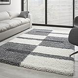Shaggy Rug Long Pile Carpet designe multicolored - Grey-White-Lightgrey, 140x200 cm