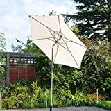 Kingfisher 2m Cream Aluminium Parasol with Tilt Mechanism