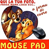 Mouse Pad Heart Shaped Mat in Fabric with printing personalized gift idea–Lilly and the Tramp