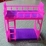 good01 Barbie Dolls House Accessories Cartoon Plastic Bunk Bed Furniture Kids Toy