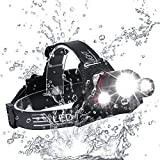 Zukvye Rechargeable LED Head Torch, Super Bright 5000 Lumens CREE LED Headlamp, 4 Modes, Zoomable Waterproof Headlight Perfect for Running, Walking, Camping, Reading, Hiking, Fishing & More