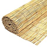 FB FunkyBuys Garden Natural Peeled Reed Screening Roll Screen Fence Fencing Penal Wooden (H: 1M x L: 4M)