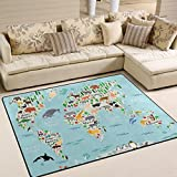 Naanle Animal World Map Non Slip Area Rug for Living Dinning Room Bedroom Kitchen, 150x200 cm(5'x7' ft), Earth Map Nursery Rug Floor Carpet Yoga Mat