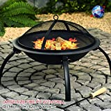Denny International Large Black Fire Pit Steel Folding Outdoor Garden Patio Heater Brazier Stove Grill Camping Bowl BBQ With Poker, Grate, Grill (Large_56x42cm)