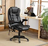 MCC Executive Faux Leather Massage Heating Office Computer Desk Chair Swivel Reclining (Black)