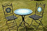 2 Seater 'Blue' Pattern Mosaic Bistro Patio Garden Set.