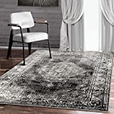 A2Z Rug Vintage Traditional Santorini Collection Black 240x330 cm - 8x11 ft Area Rugs