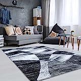 carpetcity Modern Designer Rug Flat Pile Patchwork Inspiration Grey Mottled Black, 200/290 cm