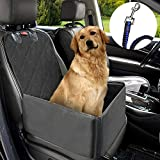 MATCC Pet Dog Car Supplies 2 in 1 Thick Waterproof Single Front Seat with Car Seat Belt Pet Car Mat Booster Bag Pet Carrier Seat Protector Travelling (Black)
