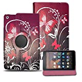 Amazon Fire HD 8 (2017) Case, ProGadgetsLTD, New Luxury Printed Design Premium PU Leather 360 Rotating Smart Stand Flip Case Cover For Amazon Fire HD 8 Inch Tablet (7th generation, 2017 Version Only) (Butterfly On Purple 360 Rotating Case)
