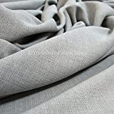 New Soft Designer Linen Look Chenille Fabric Ideal For Upholstery Drapes Blinds Curtains Cushions Light Grey Silver Colour