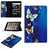 Fire HD 8 Tablet Case,Ticase Premium PU Leather Heavy Duty Anti-Shock Rubber Protective Cover for Amazon Fire HD 8 Tablet (8' Tablet, 7th Generation - 2017 Release) - Blue Butterfly