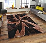 Online Bedding Store. New LATAIN Luxurious & Soft Shaggy Rugs with Exclusive Modern Designs (125 Black Beige, 80cm x 150cm)