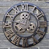 40cm Retro Vintage Handmade 3D Decorative Gear Wooden Vintage Wall Clock